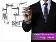 Drawing social network PowerPoint Template
