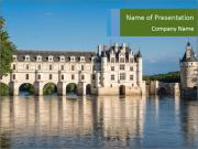 Chenonceau castle at dusk PowerPoint Template