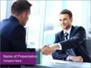Businessman shaking hands PowerPoint Template