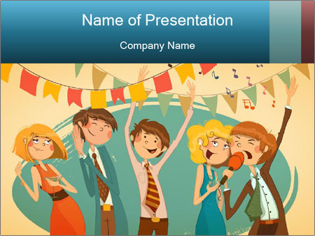 Cheerful Corporate Party Powerpoint Template Backgrounds Google