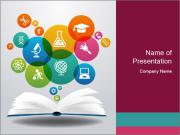 Open books and icons PowerPoint Template