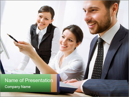 Group of happy business people PowerPoint Template