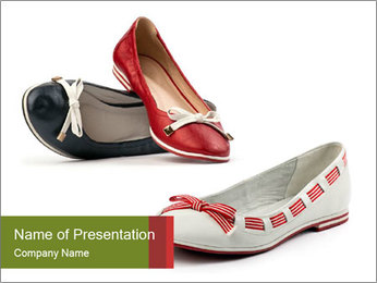 Three female flat shoes PowerPoint Template