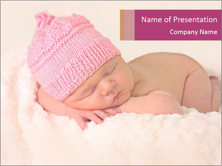 Newborn baby girl PowerPoint Template
