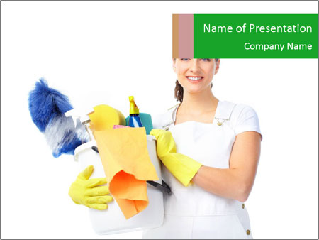 Young smiling housewife cleaner PowerPoint Template