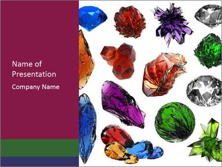 Set of different gems PowerPoint Template