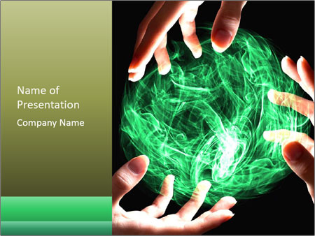 Emerald magical sphere PowerPoint Template