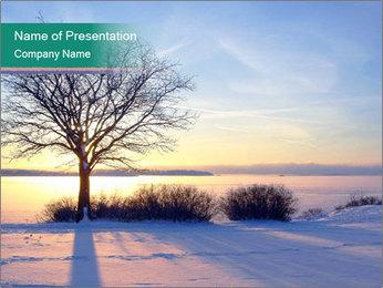 Winter sea sunset PowerPoint Template