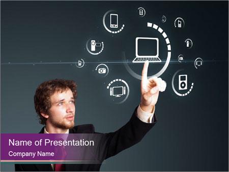 Multimedia powerpoint template smiletemplates businessman pressing multimedia powerpoint template maxwellsz