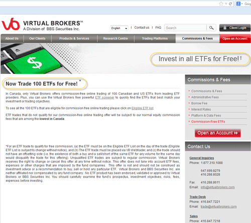 Screenshot of Virtual Brokers' Commission-Free ETF page