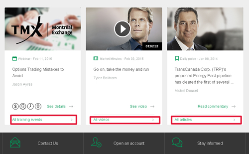 Investor education section on the new Desjardins Online Brokerage website