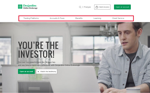 Top menu on new Desjardins Online Brokerage website