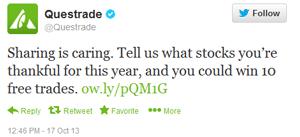 Questrade trade giveaway tweet 1