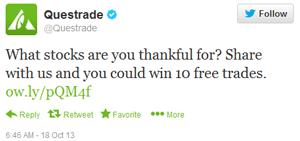 Questrade Thanksgiving trade giveaway tweet