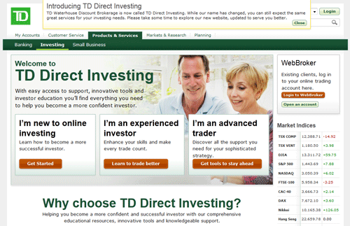 TD Waterhouse Discount Brokerage Is Now TD Direct Investing