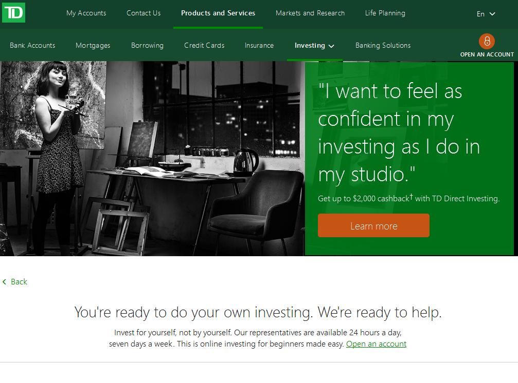 Screenshot of TD Direct Investing website 2017-01-27