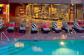 The Sedona Rouge outdoor pool and fitness room