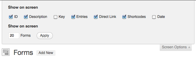 Form Screen Options