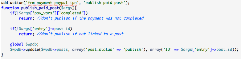 publish post after payment