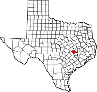 Small map of Burleson county