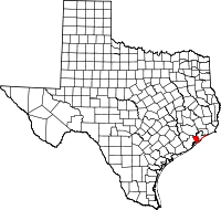 Small map of Galveston county