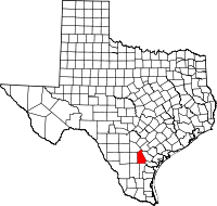 Small map of Live Oak county
