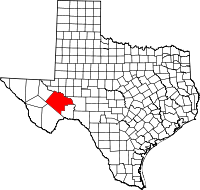 Small map of Pecos county