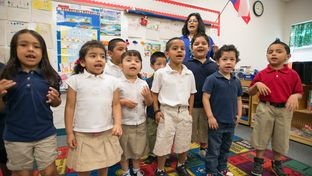 Students in Pre-K teacher Josefina Pineda's class sing to practice their language skills at the Dallas Independent School District Cesar Chavez Learning Center in Dallas, Texas.