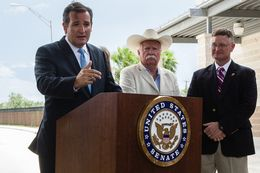 Senator Ted Cruz held a press conference at the Anzalduas International Bridge in Mission surrounded by a group of local ranchers who told the senator they have been impacted by poor border security.
