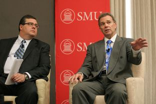 L to R: Larry Phillips (R) Sherman and Joe Pickett (D) El Paso during the Transportation and the 83rd Legislature section of The Texas Tribune's symposium held on the SMU campus.