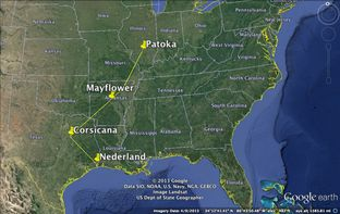 The approximate path of ExxonMobil's Pegasus pipeline.