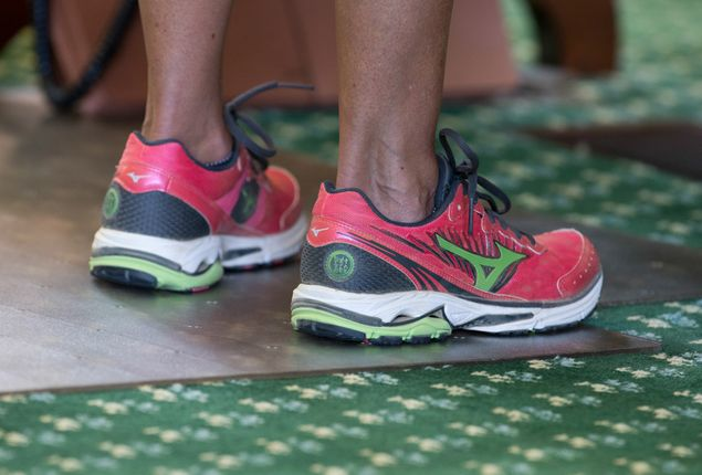 State Sen. Wendy Davis, D-Fort Worth, wears pink shoes during her June 25, 2013, filibuster of Senate Bill 5, which would tighten regulations on abortion providers in Texas.