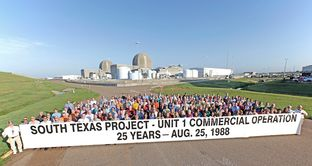 This August 2013 photo shows more than 200 of the roughly 350 current employees of the STP Nuclear Operating Company who were with the company 25 years ago, when it added its first reactor to the Texas grid. In a handful of years, most will be eligible for retirement, worrying company officials. Photo courtesy of STP Nuclear Operating Company.