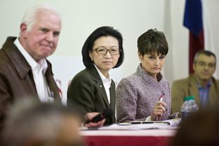 Senate District 25 candidates Mike Novak, Elise Chan, and freshman Sen. Donna Campbell wait to respond to a panel question at a Republican debate in Wimberley, Feb. 5, 2014.