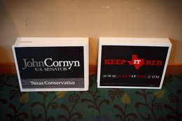 Cornyn campaign signs available at the Galveston County Republican Party's annual Liconln dinner in League City, Texas Saturday, February 15, 2014.