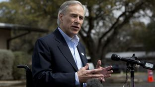 Attorney General Greg Abbott speaks to press after voting in the primary on March 4th, 2014 at South Austin church. Abbott is running for the Republican nomination for Governor of Texas