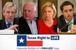 Sen. Bob Deuell, far left, and state Rep. Sarah Davis, center right, have been targeted by Texas Right to Life. Agriculture commissioner candidate Sid Miller, center left, and comptroller candidate Glenn Hegar, right, both heavily promoted their anti-abortion stance on the campaign trail.