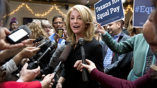 Governor candidate Wendy Davis talks about keeping her law clients during a campaign stop at Scholtz on March 24, 2014.