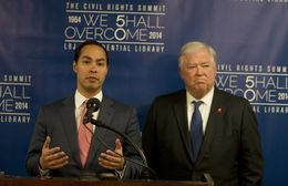 Mayor Julian Castro and former Governor of Mississippi Haley Barbour, speak to media during the Civil Rights Summit on April 8th, 2014