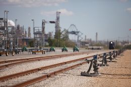 The Jefferson Rail Transload Terminal at the Port of Beaumont on April 8, 2014. The terminal offloads oil from rail cars onto barges bound for refineries on the Gulf Coast. (Photo by Michael Stravato)