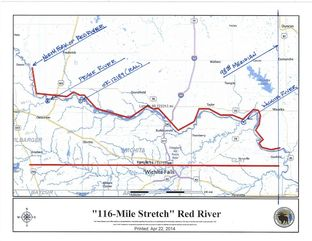 Map of disputed 116-miles stretch of the Red River.