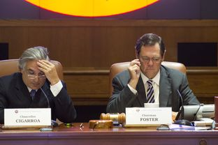 UT System Chancellor Dr. Francisco Cigarroa and Board of Regents Chairman Paul L. Foster as UT Regents study tuition increases on May 14, 2014.