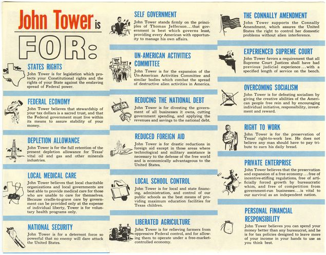 A campaign publication outlining Tower's positions, many of which are similar to views promoted by Texas Republican candidates today.