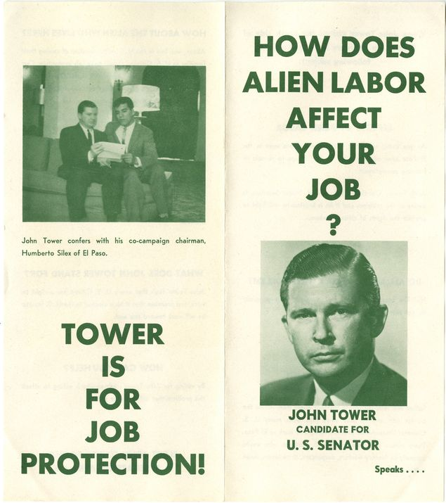 A Tower campaign brochure focused on the number of Mexicans working in the U.S.
