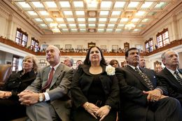 Sen. Leticia Van de Putte, D-San Antonio (center) on the House floor on Feb. 8, 2011.