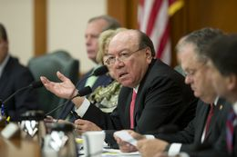 "Sen. Juan ""Chuy"" Hinojosa, D-McAllen, speaks his concerns about law enforcement agencies working together on the border surge during a discussion at the Legislative Budget Board meeting on Dec. 1, 2014."