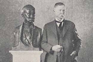 A bust of Thomas Taylor, the founder and first dean of the University of Texas' engineering college, was a gift to the university in 1929. Somehow it ended up in an Old West museum in Bandera, Texas. This photo was originally published in The Alcalde March 2, 1929.