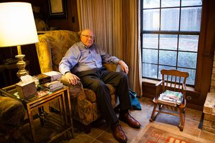 Leon Toubin, whose family worshipped at B'nai Abraham synagogue for generations, inside his home in Brenham, Texas.