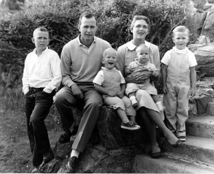Jeb Bush, right, with George W., from left, George H.W., Neil and Barbara, holding Marvin, in Midland circa 1957. Photo courtesy George Bush Presidential Library and Museum