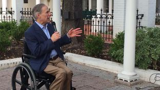 Gov. Greg Abbott addresses tech executives Saturday at the Governor's Mansion. They were in town for Austin's South by Southwest festival.